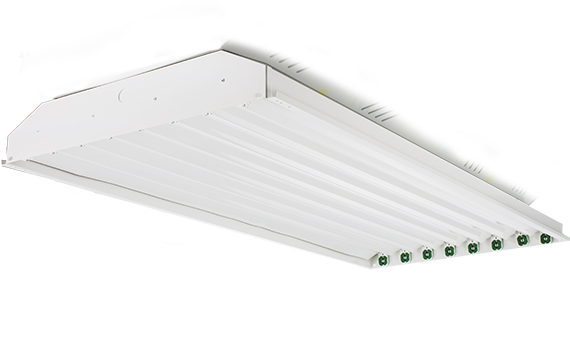 product photo of eight lamp high bay fixture with lampholders