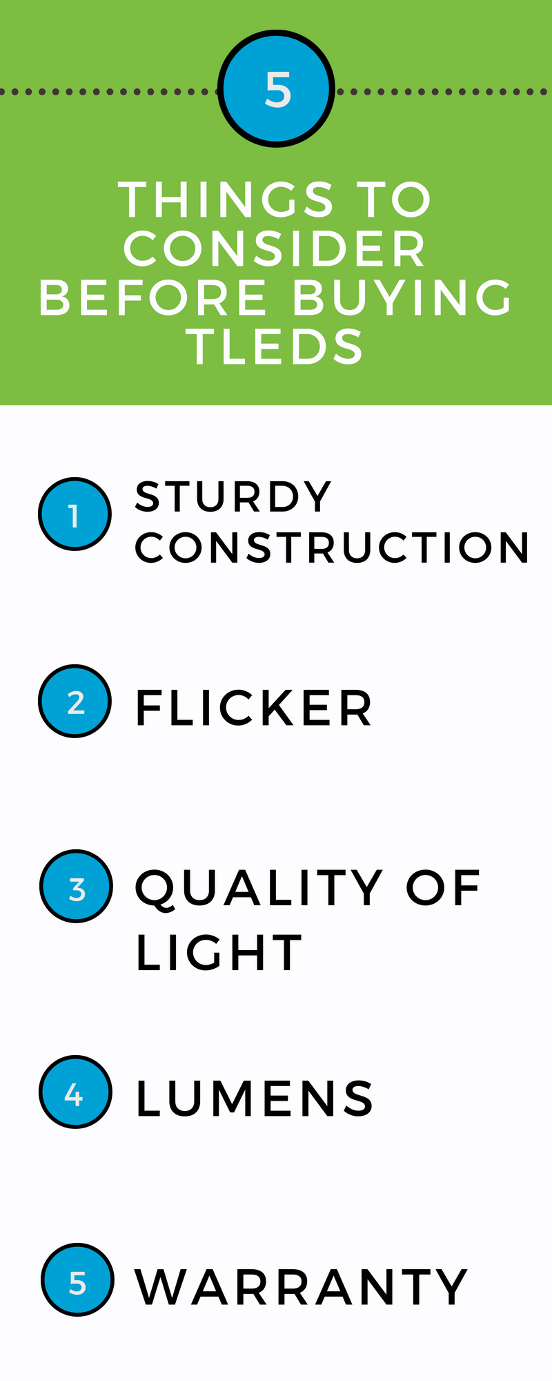 5 Things to Consider before Purchasing TLEDs infographic